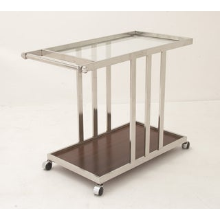 Stainless Steel Glass Wood Cart 40-inch x 32-inch Kitchen Cart