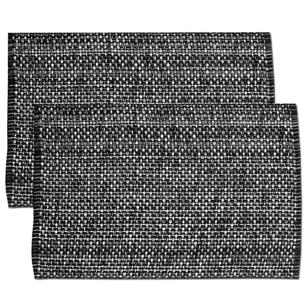 Black Cotton Two-tone Placemats (Set of 2, 4 or 6)