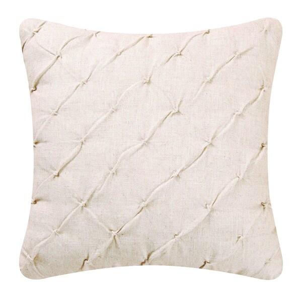 Cream Diamond Tuck 17 inch Throw Pillow