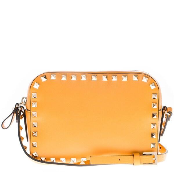 Valentino Orange Leather Rockstud Camera Crossbody Bag