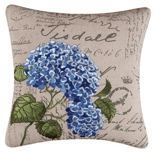 Blue Hydrangea Embroidered 17 inch Throw Pillow