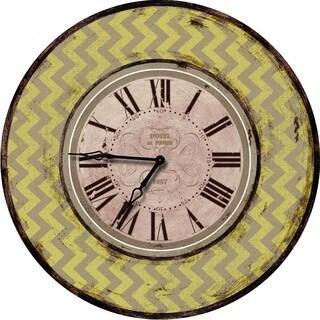 Shabby Chic Yellow Chevron Wall Clock