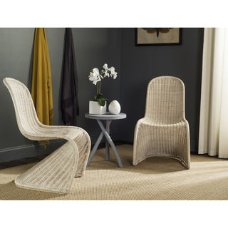 Safavieh Rural Woven Dining Tana Grey Wicker Side Chairs (Set of 2)