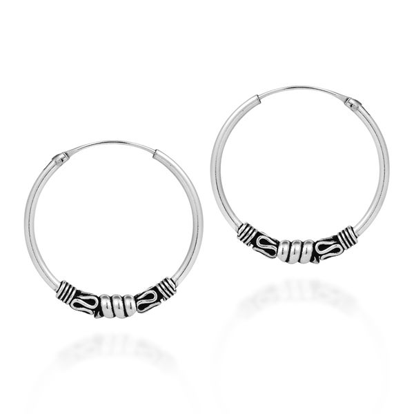 Classic Ethnic Balinese Sterling Silver 25mm Hoop Earrings (Thailand)