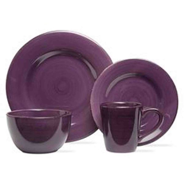 TAG Sonoma Dinnerware Collection Purple 16 pc