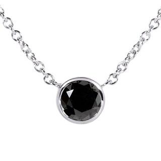 Annello 14k White Gold 1/2ct Black Diamond Solitaire Bezel Pendant