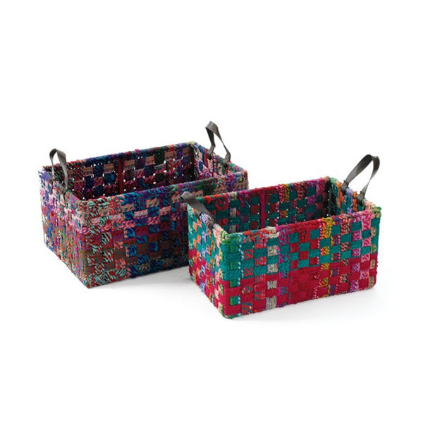 Colorful Woven Square Baskets