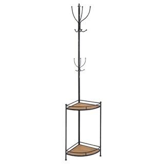 Oh! Home Corner Metal and Wood Coat Rack