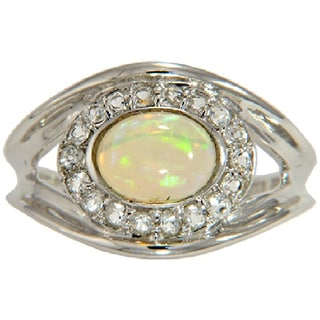 Sterling SIlver Ethiopian Opal and White Topaz Ring