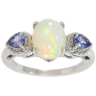 Sterling Silver Ethiopian Opal and Tanzanite Ring
