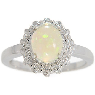 Sterling Silver Solitaire Genuine 9x7mm Opal Ring