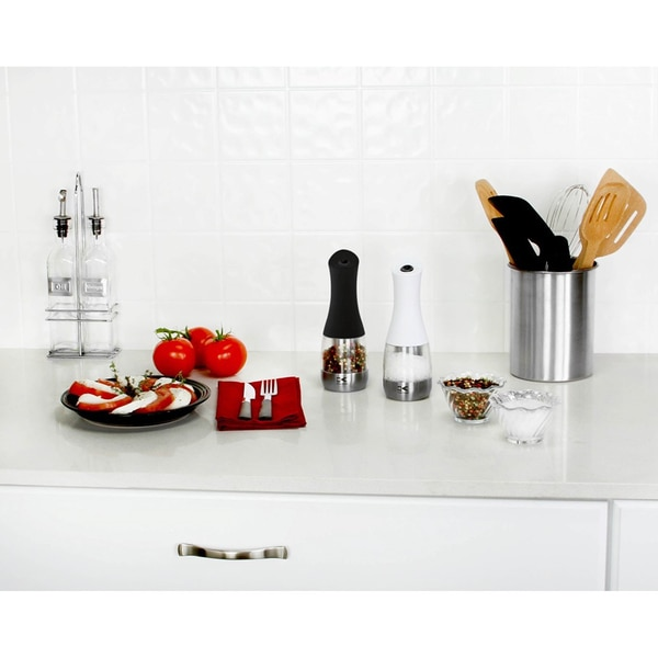 Kalorik Contempo Stainless Steel Black and White Electric Salt and Pepper Grinder Set