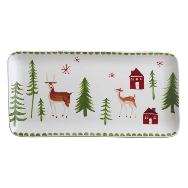 Tag Winter Wonderland Platter - White/Red/Green