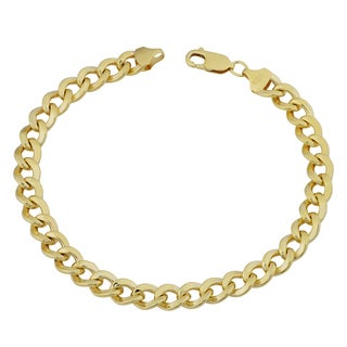 Fremada 14k Yellow Gold Filled Men's 7.4-mm High Polish Curb Link Bracelet (9 inches)