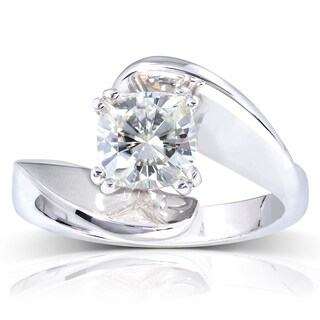 Annello 14k White Gold 1 1/10ct Moissanite Solitaire Engagement Ring