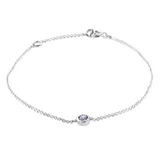 Annello 14k White Gold 1/4ct Diamond Solitaire Bezel Bracelet (H-I, I1-I2)