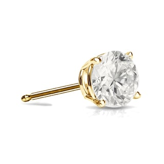 Auriya 14k Gold 1/4ct TDW 4-Prong Push-Back Round Diamond Single Stud Earring (I-J, I1-I2)
