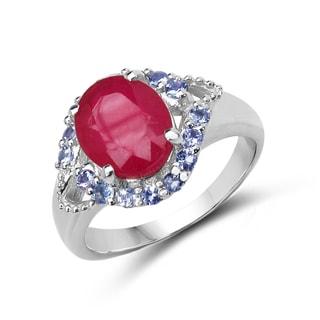 Malaika Sterling Silver 4ct TGW Ruby and Tanzanite Ring