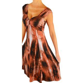 Women's Plus Size Copper Slimming Empire Waist Cocktail Dress