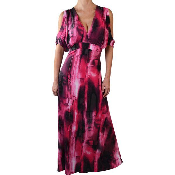 Funfash Plus Size Pink Black Women's Long Maxi Cocktail Dress