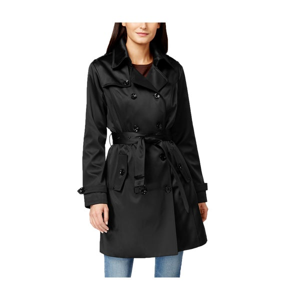Michael Michael Kors Black Satin Trench Coat