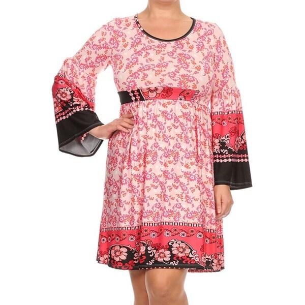 Plus Size Women's Pink Floral Dress