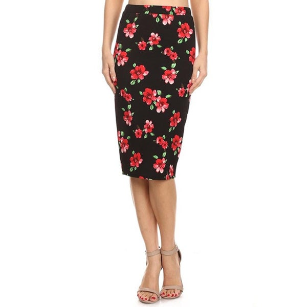 Women's Floral Midi Pencil Skirt