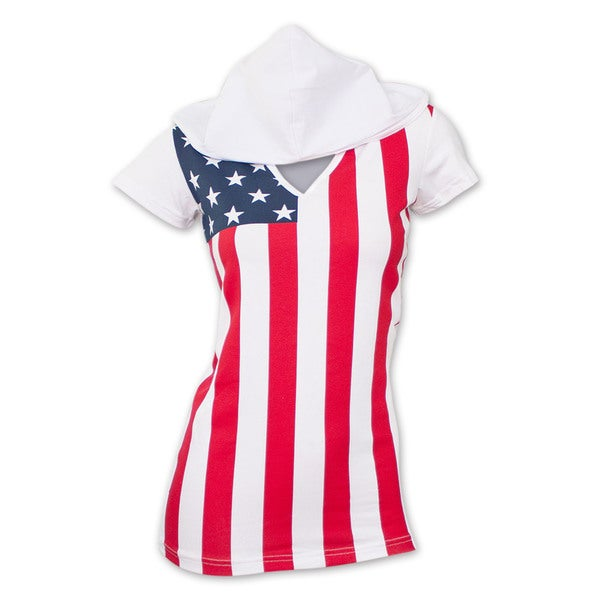 USA American Flag Women's Hooded T-Shirt