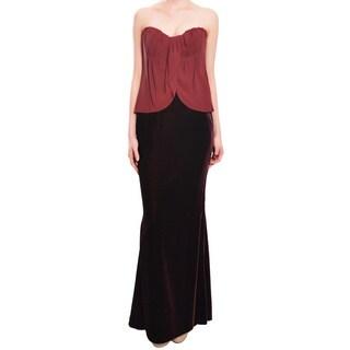 Escada Elegant Burgundy Velvet Draped Silk Evening Gown Dress