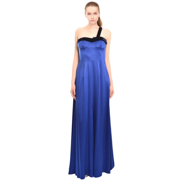 Escada Vibrant Cobalt Silk Evening Gown Dress