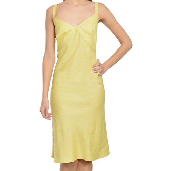 Escada Lovely Flattering Pale Yellow Linen Dress (Size 10)