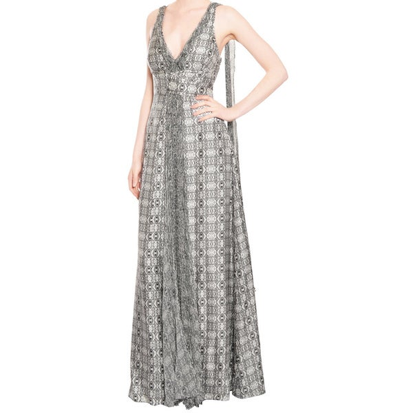 Emanuel Ungaro Geo Silk Print Gown Dress