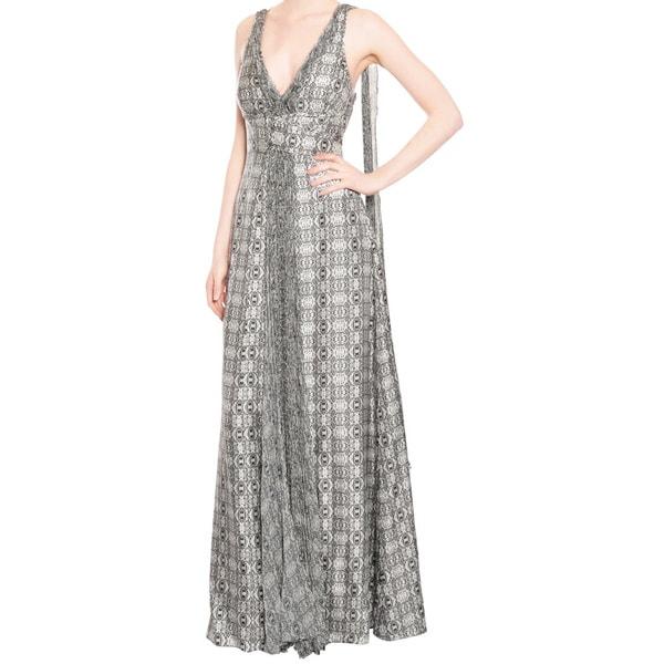Emanuel Ungaro Geo Silk Print Gown Dress