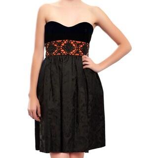 Escada Black Velvet Jacquard Beaded Cocktail Evening Dress