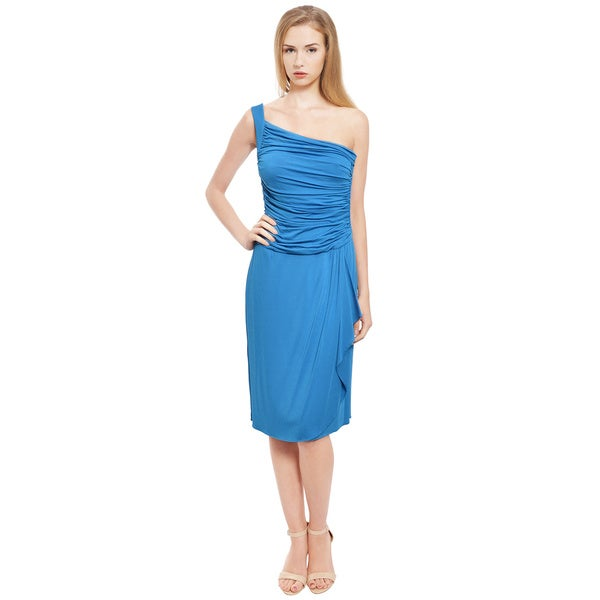 Escada Ruched One Shoulder Jersey Eve Dress (Size 8)