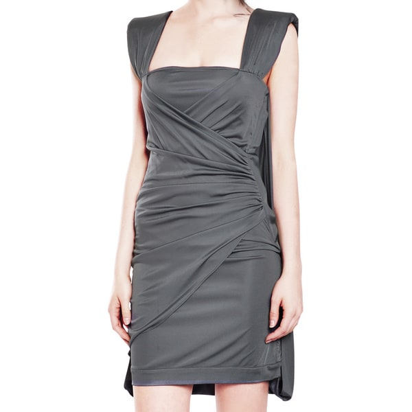 Emanuel Ungaro Fabulous Grey Slinky Jersey Knit Cocktail Evening Dress