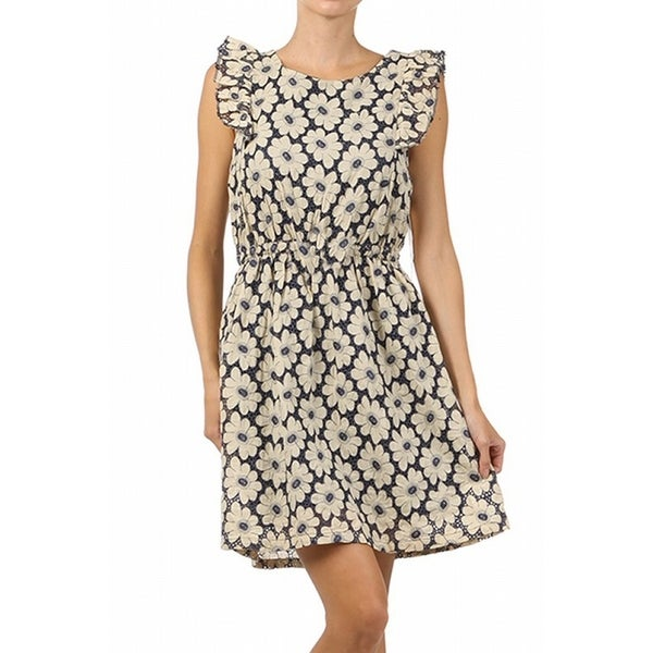 Freeway Whimsical Daisy Print Navy Cream Flutter Sleeve A-Line Dress