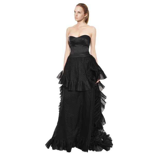 Escada Layered Black Organza Silk Strapless Evening Gown Dress