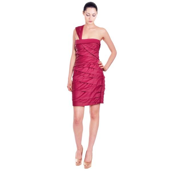 Emanuel Ungaro Raspberry Tiered Cocktail Dress