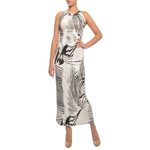 Go Couture Exotic Shimmer Black White Zebra Print Long Dress