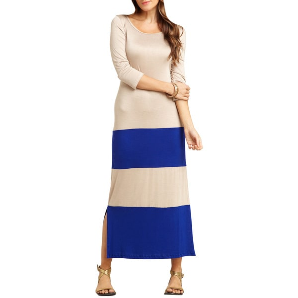 Go Couture Versatile Color Block Scoop Neck 3/4 Sleeve Long Maxi Dress