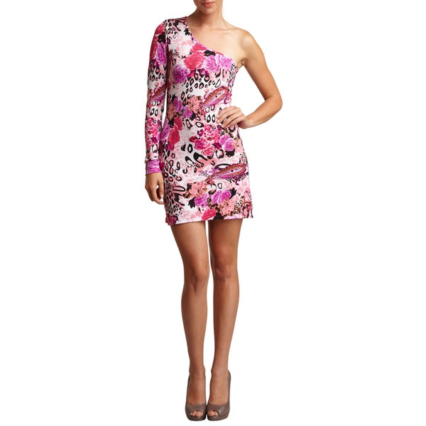 Go Couture Exotic Animal Floral Print Asymmetric Stretch Fit Dress