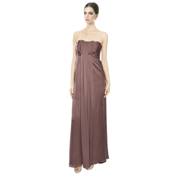Escada Brown Silk Draped Ruffle Strapless Evening Gown Dress