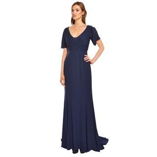 Escada Navy Silk Georgette Ruched Flutter Sleeve Eve Gown Dress (Size 6)
