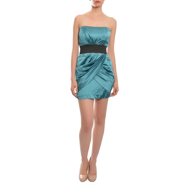 Foley + Corinna Silk Satin Teal Strapless Draped Cocktail Party Dress