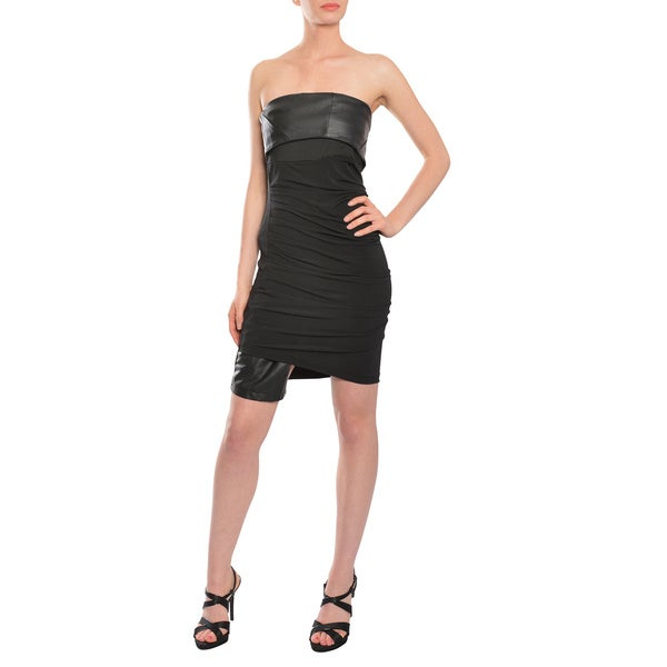 Factory Fab Black Stretch Knit Faux Leather Corset Cocktail Dress