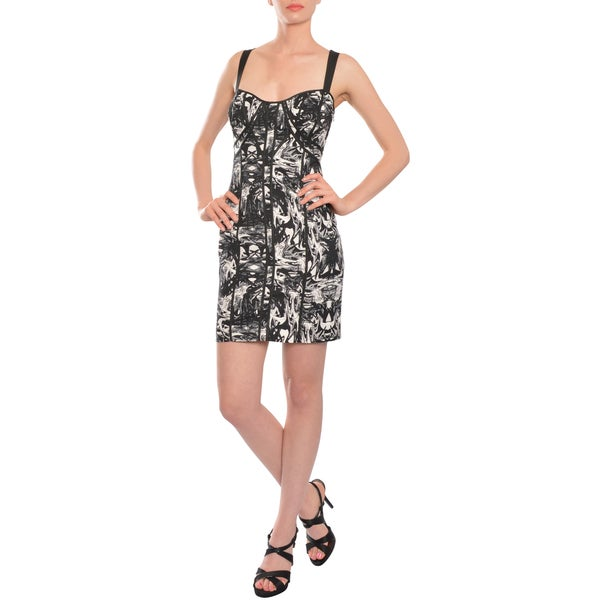 Factory Trendy Black White Swirl Print Stretch Fit Cocktail Party Dress (Size 6)