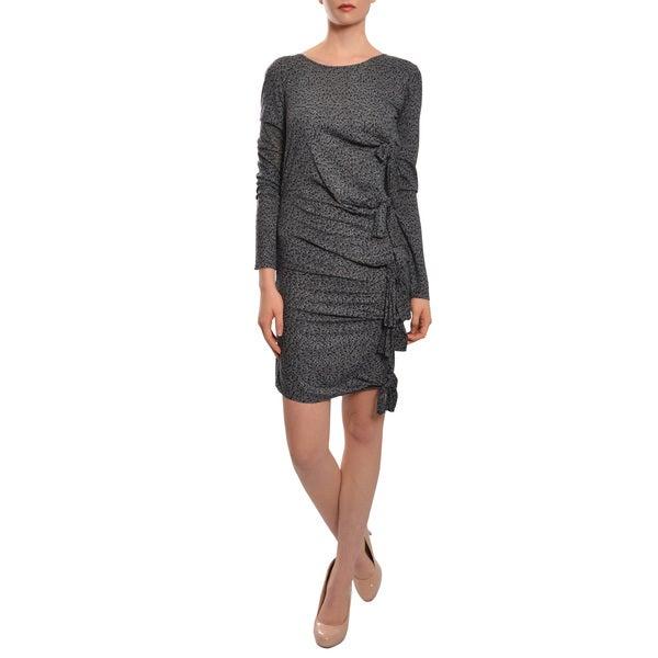 Gryphon Trendy Grey Leopard-Print Jersey Knot Crewneck Dress (Size S)