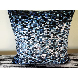 ArtHouse Innovations Blue Mosaic Stained Glass Suede Throw Pillow