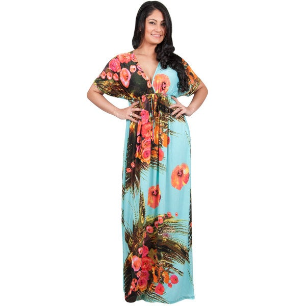 KOH KOH Women's Plus Size Kimono Style Floral Print Long Flowy Maxi Dress